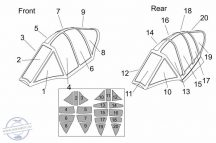 Ohka MXY7-K1 KAI two seats Canopy mask (Brengun kit) - 1/48
