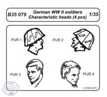 German WWII soldiers-character. heads 4 pcs - 1/35