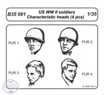 US WW II soldiers – Characteristic head (4 pcs) - 1/35