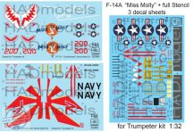 "32068+32065 F-14A ""Miss Molly"" with full stencil 3 decal sheets 1:32"