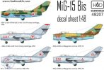 MiG-15 Bis (North Corea, Soviet, Hungarian) decal sheet 1:48