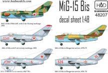 MiG-15 Bis (North Corea, Soviet, Hungarian) decal sheet 1:48