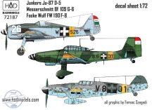 Messerschmitt BF 109 G-6; Junkers Ju-87 D-5, FW 190 F-8 - 1/72