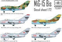 MiG-15 Bis (North Corea, Soviet, Hungarian) decal sheet 1:72