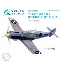 Bf 109E-1/E-3 3D-Printed & coloured Interior on decal paper (for Eduard  kit) - 1/48