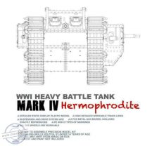WWI HEAVY BATTLE TANK MARK IV HERMOPHRODITE WITH CEMENT-FREE TRACKS