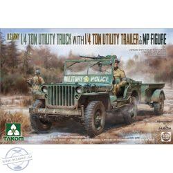 U.S. Army 1/4 Ton Utility Truck with 1/4 Ton Utility Trailer & MP figure (Jeep) - 1/35